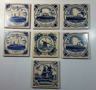 Holland America Line Blue Delft Tiles Coasters Lot of 7