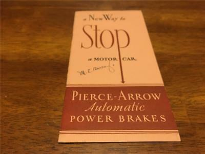 Vtg Pierce Arrow Sales Brochure A New Way To Stop A Car Automatic Power Brakes