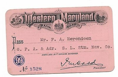 1899 Western Maryland Railroad annual pass