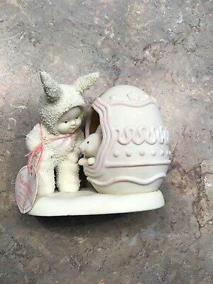 "Dept. 56 Snowbunnies 1999 ""Can you come out and play?"" Figurine with Easter Egg"