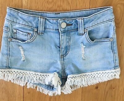 Girls Denim Fringed Shorts Sz 8 Tilii Brand