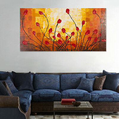 120*60cm Hand Painted Oil Painting on Stretched Canvas - Framed Red Flowers