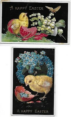 Two GEL Easter Postcards Chick Hatching Butterfly Lilies Valley 4-Get-Me-Nots