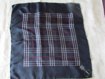 "30"" SQ Scarf Silk Vintage Burberry London navy Grey Red Logo Printed rare"