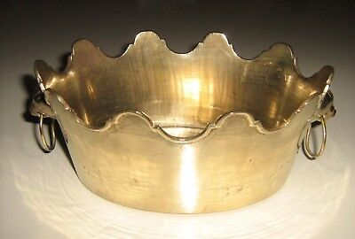 Vintage Brass Bowl .. lion head ...beautifully  scalloped edge ...