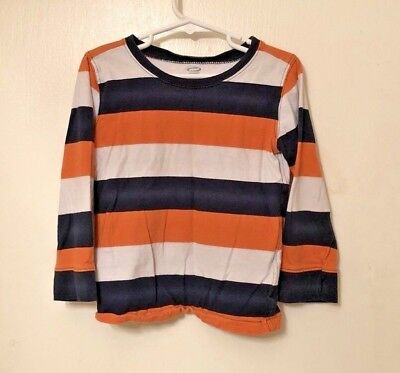 Old Navy Long Sleeve Boys Shirt Orange, Blue, and White Striped Size 5T