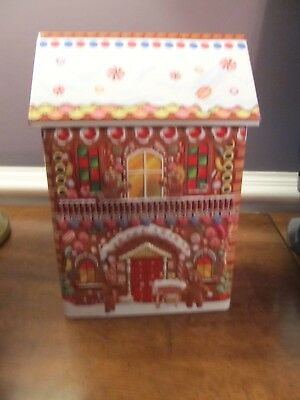 """QVC Harry London Embossed 8"""" Gingerbread House Candy, Cookie Christmas Tin!"""