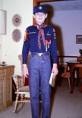 Vintage 1968 Color Photo Slide of Cute Boy Preteen in BOY SCOUTS Uniform Patches