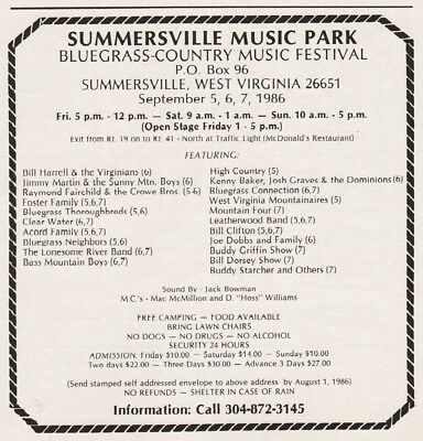 1986 Summersville WV Bluegrass Fest Harrell Martin Lonesome River Foster Fam Ad