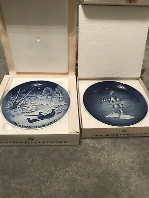 2 Bing and Grondahl Copenhagen Porcelain collector Plates 1970, 1974 Christmass