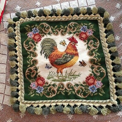 """Vintage Rooster & Butterflies Needlepoint Pillow Cover 17"""" X 17"""" Plus Tassles"""