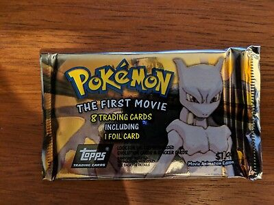 1999 Pokemon Topps Trading Cards The First Movie - 1 Booster pack blue logo