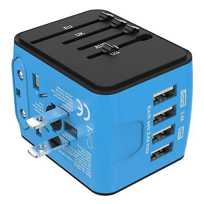 NEW Travel Adapter Universal All-in-one International USB High Speed 2.4A 4-port