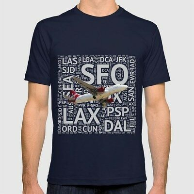 Virgin America Airbus A319 with Airport Codes - T-Shirt