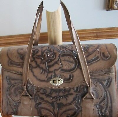 Vintage 1950's Mexican Hand Tooled Embossed Roses Floral Leather Purse Handbag