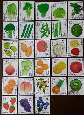 28 Japan Fruits & Vegetables ¥80-¥82 Sound Stamps Used Nice Collection