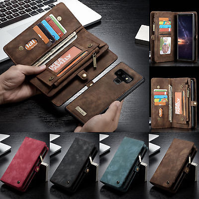 Genuine Leather Zipper Wallet Book Case Cover for Samsung Galaxy S7 S8 S9 NOTE 8