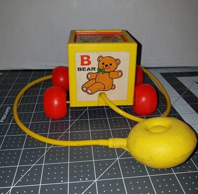 Vintage 1970's Fisher Price 760 Peek A Boo Block Squeeze Bulb Pull Toy Baby