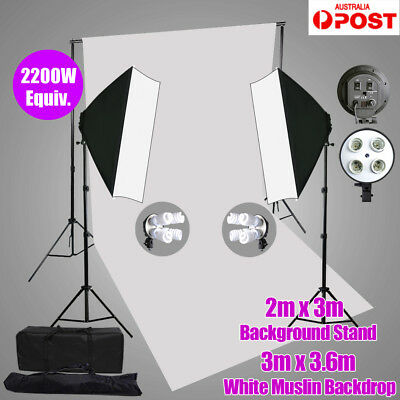 2200W Photo Studio 4 Head Softbox Continuous Lighting Muslin Backdrop Stand Kit