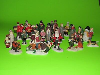 LOT Of 20+ Christmas Village Figures Lots Of People Very Good Condition