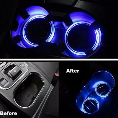 2PC Solar Energy Cup Holder Bottom Pad LED Blue Light Cover Mat Trim For Car