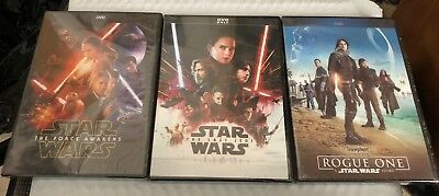 Star Wars: The Force Awakens, Rogue One, & The Last Jedi 3-DVD Combo (Free Ship)