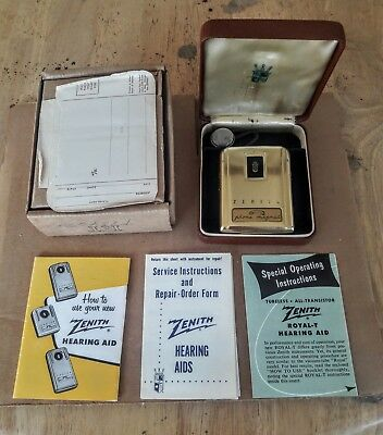 """Vintage Zenith """"Royal T"""" Hearing Aid Unit w/ Case and Paperwork...Look...NR!"""