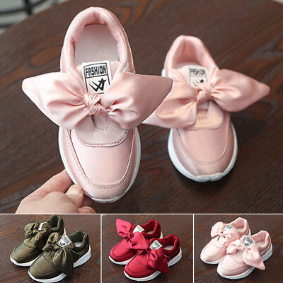 Hot Sale Child Girls Sports Shoes Comfy Sneaker Baby Kids Bowknot Casual Shoes