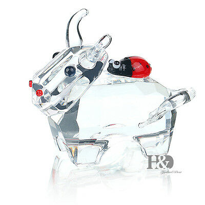 H&D 3D Clear Crystal Paperweight bull Figurines Glass Wedding Ornaments Gift