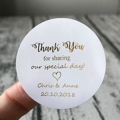 Gold foil personalized gift stickers party wedding thank you favour gift labels