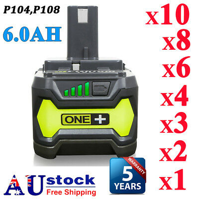 6.0AH 18V Lithium Battery For Ryobi ONE+ Plus P104 P108 P102 P103 P105 P107 P109