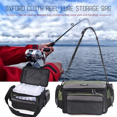Fishing Tackle Bag Pack Waist Shoulder Waterproof Box Reel Lure Gear Storage W01