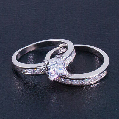 Womens Stainless Steel Princess Cut Wedding Engagement Ring Set Size  6-10