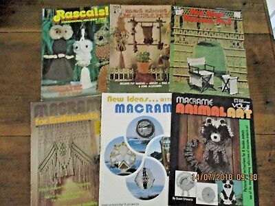 ~8 x VINTAGE MACRAME INSTRUCTION BOOKS - ALL VGC~