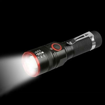 XML-T6 Micro USB Rechargeable EDC 18650 Aluminum Super Bright Flashlight Torch