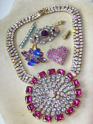 1960s NICE VINTAGE ANTIQUE CZECH RHINESTONES LOT OF JEWERLY MIX *SIGNED*   A268