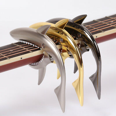 KD_ Shark Acoustic Wooden Folk Guitar Capo Sound Change Metal Clip Accessories