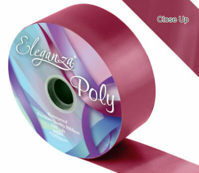 Burgundy 50mm poly ribbon waterproof - Pre Cut Lengths Reduced to clear