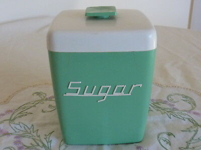 Vintage Nally Ware Green And White  Sugar  Canister 1950's