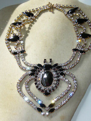 1960s NECKLACE  *SPIDER* RHINESTONE VINTAGE  GLASS SIGNED BIJOUX MG  A276