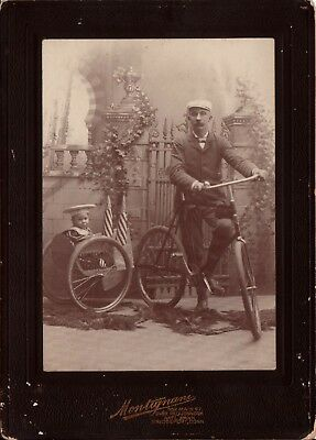 Antique Bicycle Photo Montignani Bridgeport CT Conn PATRIOTIC Pequonnock Bank