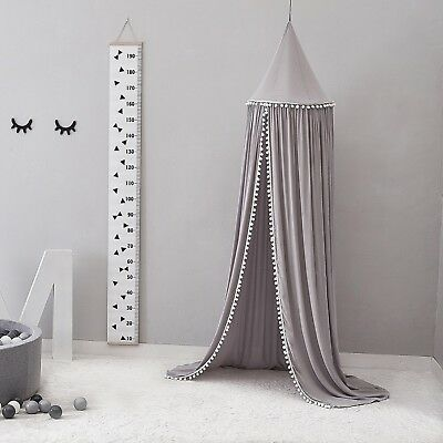 Pompom Canopy Tent Mosquito Net Dome Baby Nursery Crib Bedroom Cotton - Grey