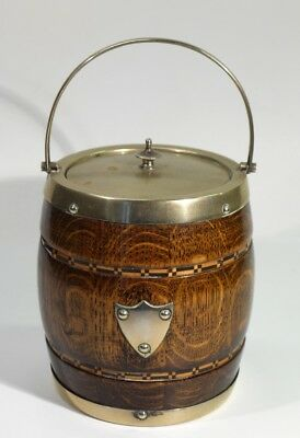 Vintage Inlaid Oak Biscuit Barrel with Plated Mounts.
