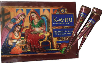 100% Fresh Kaveri Henna Bridal Mehandi Cones Tattoo Pen Arabic Halal Dark Brown
