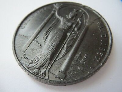 Large  Art Deco 1937 Bronze Medallion / Medal King George VI & Queen Elizabeth