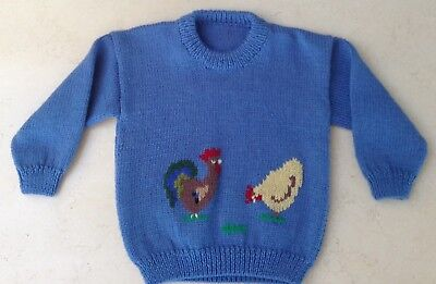 Child's Unisex New Hand knitted Pure Wool Jumper Size 3/ 4 Hens & Rooster Design