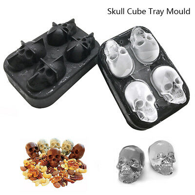 1/2x Whiskey Silicon Ice Cube Maker Mold Mould 3D Skull Brick Halloween Party