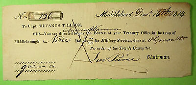War of 1812 Document, Pay Warrant Middleboro, 1814,