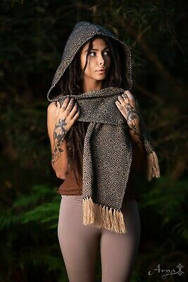 Astro Tribe Hoodie Scarf - Festival Clothing Hooded Cowl Gypsy Wool