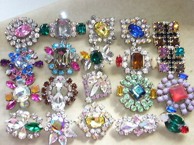 20x  PRECIOZA 1960s ANTIQUE VINTAGE RHINESTONES LOT OF GLASS BUTTONS  A280